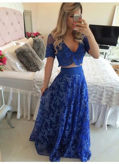 A-Linien-/Princess-Stil V-Ausschnitt Bodenlang Spitze Kurze Ärmel zweiteilige Abendkleid