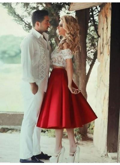 A-Linien-/Princess-Stil Satin Schulterfrei Knielang zweiteilige Kleid mit Spitze