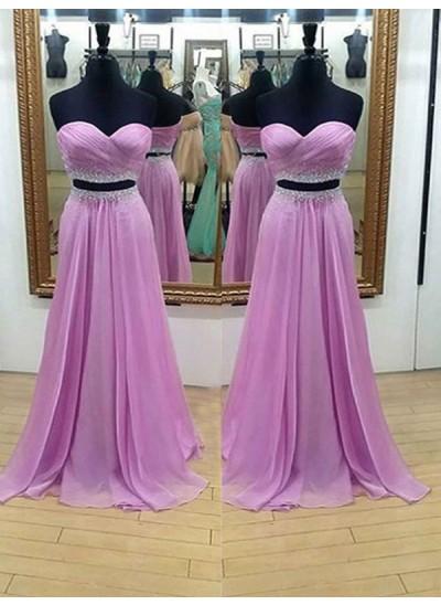 A-Linien-/Princess-Stil Herzausschnitt Bodenlang Chiffon zweiteilige Kleid mit Perlenstickereien