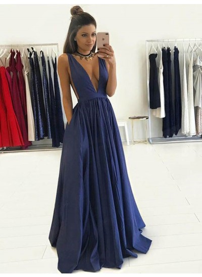 A-Linien-/Princess-Stil V-Ausschnitt Bodenlang Satin Abendkleid