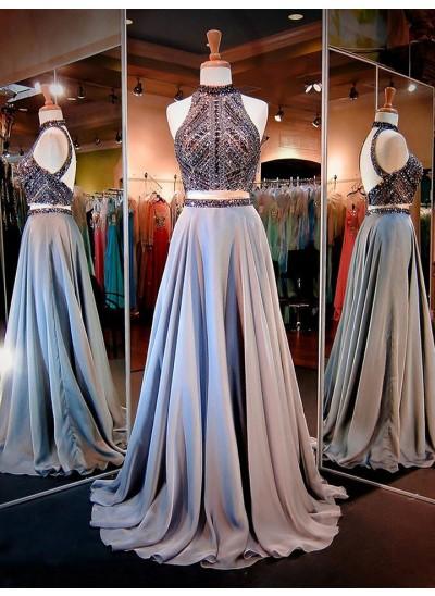 A-Linien-/Princess-Stil Stehkragen Pinselschleppe Satin zweiteilige Kleid mit Perlenstickereien