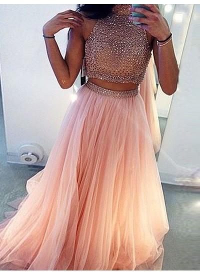 A-Linien-/Princess-Stil Stehkragen Pinselschleppe Tüll zweiteilige Abendkleid mit Perlenstickereien