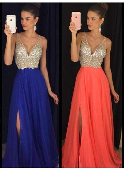 A-Linien-/Princess-Stil V-Ausschnitt Bodenlang Perlenstickereien Chiffon Abendkleid mit Schlitz