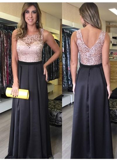 A-Linien-/Princess-Stil U-Ausschnitt Bodenlang Satin Abendkleid mit Spitze