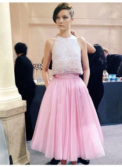 A-Linien-/Princess-Stil U-Ausschnitt Wadenlang Tüll zweiteilige Kleid mit Perlenstickereien