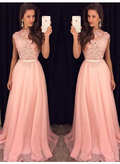 A-Linien-/Princess-Stil Stehkragen Bodenlang Chiffon Abendkleid