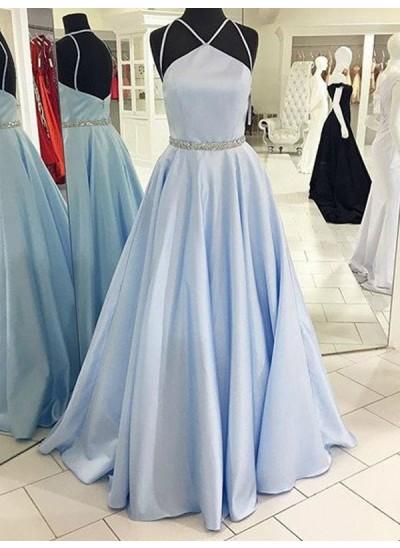 A-Linien-/Princess-Stil Neckholder Bodenlang Satin Abendkleid