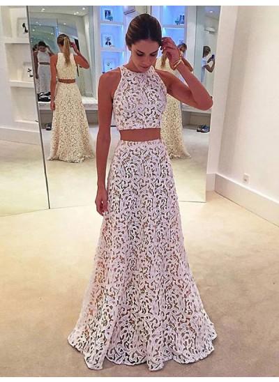 A-Linien-/Princess-Stil U-Ausschnitt Bodenlang Spitze zweiteilige Abendkleid mit Spitze