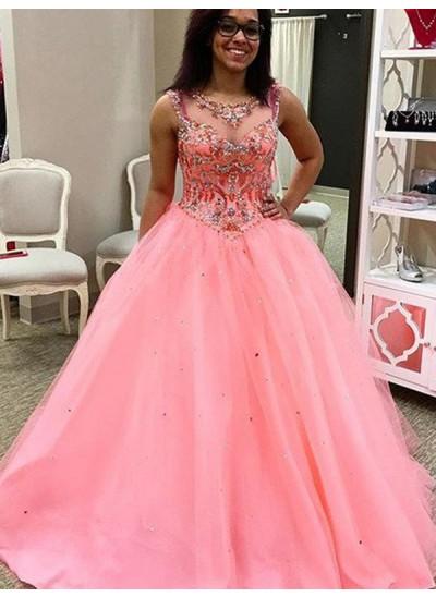 Duchesse-Stil Herzausschnitt Bodenlang Tüll Abendkleid mit Perlenstickereien