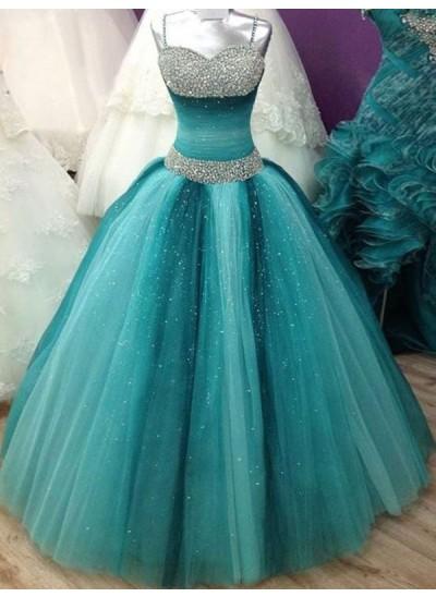 Duchesse-Stil Spaghetti Träger Bodenlang Tüll Abendkleid mit Perlenstickereien