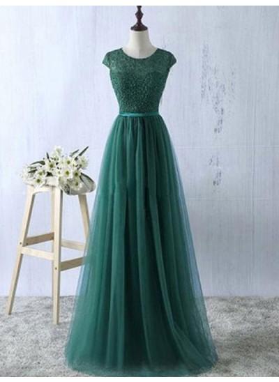 A-Linien-/Princess-Stil U-Ausschnitt Bodenlang Tüll Abendkleid