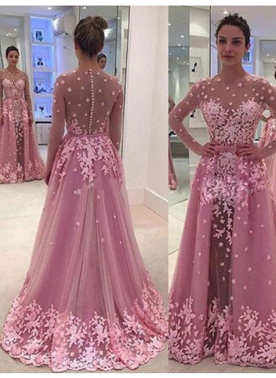 A-Linien-/Princess-Stil U-Ausschnitt Bodenlang Tüll Abendkleid mit Applikationen