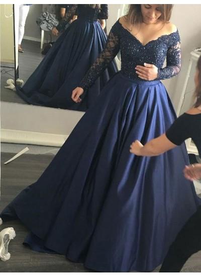 Duchesse-Stil Schulterfrei Pinselschleppe Satin Abschlussballkleid mit Perlenstickereien