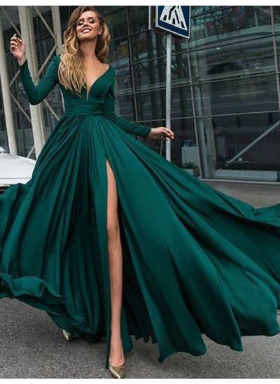A-Linien-/Princess-Stil V-Ausschnitt Pinselschleppe Satin Lange Ärmel Rüschen Abendkleid mit Schlitz