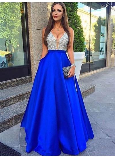 A-Linien-/Princess-Stil V-Ausschnitt Ärmellos Bodenlang Satin Abendkleid mit Perlenstickereien