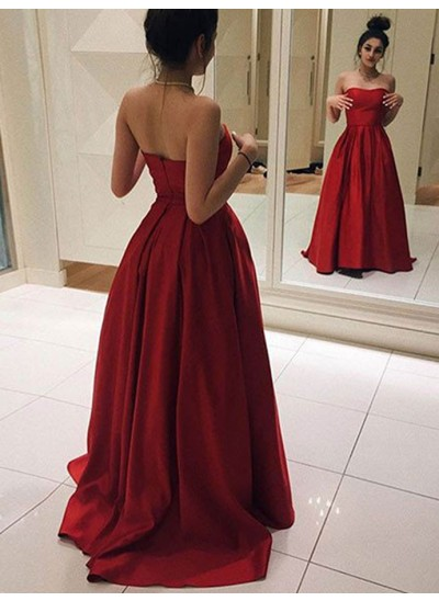 A-Linien-/Princess-Stil Herzausschnitt Ärmellos Pinselschleppe Satin Abendkleid