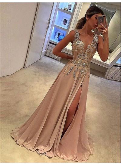 A-Linien-/Princess-Stil V-Ausschnitt Ärmellos Bodenlang Applikationen Chiffon Abendkleid mit Schlitz