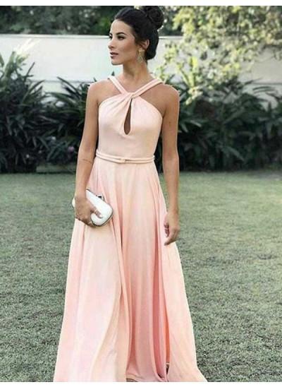 A-Linien-/Princess-Stil Neckholder Bodenlang Chiffon Ärmellos Abendkleid mit Rüschen