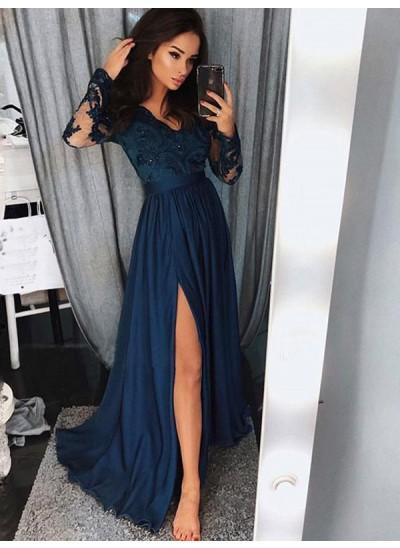 A-Linien-/Princess-Stil V-Ausschnitt Pinselschleppe Chiffon Lange Ärmel Kleid mit Schlitz