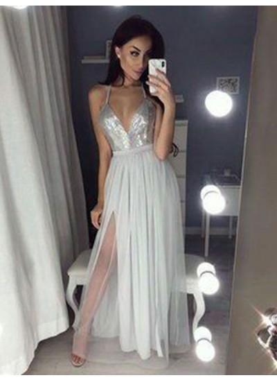 A-Linien-/Princess-Stil V-Ausschnitt Bodenlang Chiffon Ärmellos Rückenfrei Kleid mit Schlitz