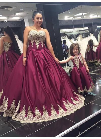 Duchesse-Stil Herzausschnitt Bodenlang Ärmellos Satin Abendkleid in Übergröße mit Applikationen