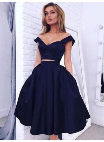 A-Linien-/Princess-Stil Schulterfrei Taft Ärmellos Kurze zweiteilige Abschlussballkleid