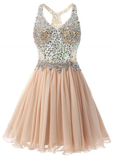 A-Linien-/Princess-Stil V-Ausschnitt Chiffon Ärmellos Kurze Abschlussballkleid mit Perlenstickereien