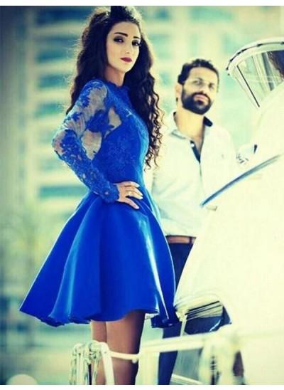 A-Linien-/Princess-Stil Juwel-Ausschnitt Satin Lange Ärmel Kurze Kleid mit Applikationen