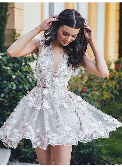 A-Linien-/Princess-Stil V-Ausschnitt Chiffon Ärmellos Kurze Kleid mit Applikationen