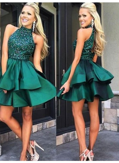 A-Linien-/Princess-Stil Stehkragen Satin Ärmellos Kurze Rückenfrei Kleid mit Perlenstickereien