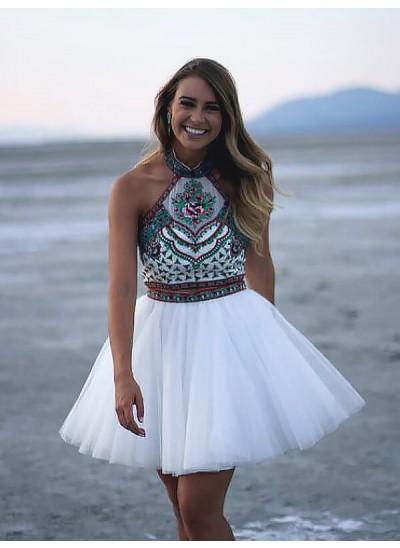 A-Linien-/Princess-Stil Neckholder Tüll Ärmellos Kurze zweiteilige Kleid mit Applikationen