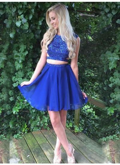 A-Linien-/Princess-Stil Bateau-Ausschnitt Chiffon Ärmellos Kurze zweiteilige Kleid mit Perlenstickereien