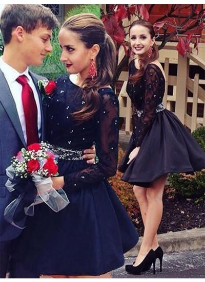 A-Linien-/Princess-Stil U-Ausschnitt Satin Lange Ärmel Kurze Kleid mit Perlenstickereien