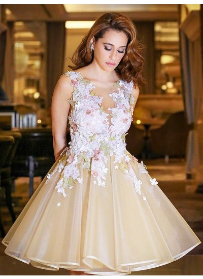 A-Linien-/Princess-Stil U-Ausschnitt Organza Ärmellos Knielang Kleid mit Applikationen