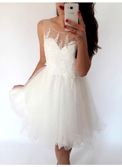 A-Linien-/Princess-Stil U-Ausschnitt Tüll Ärmellos Kurze Rückenfrei Kleid mit Applikationen