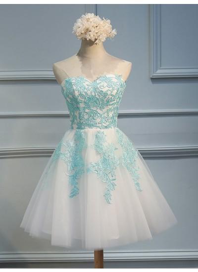 A-Linien-/Princess-Stil Herzausschnitt Tüll Ärmellos Kurze Kleid mit Applikationen Spitze