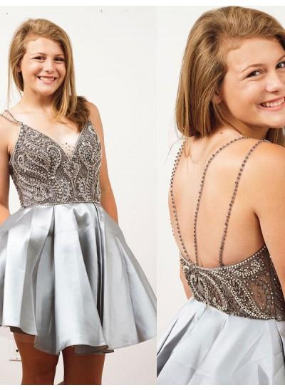 A-Linien-/Princess-Stil Spaghetti Träger Satin Ärmellos Kurze Rückenfrei Kleid mit Strasssteine