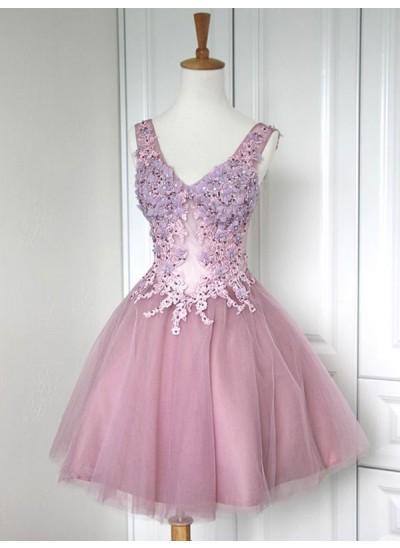 A-Linien-/Princess-Stil V-Ausschnitt Tüll Ärmellos Kurze Kleid mit Applikationen Spitze