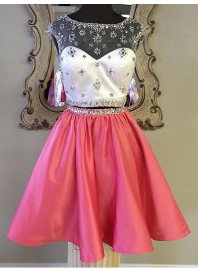 A-Linien-/Princess-Stil Bateau-Ausschnitt Satin Kurze Ärmel Knielang zweiteilige Kleid mit Perlenstickereien