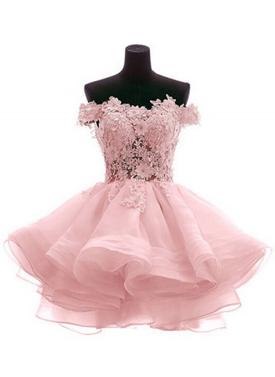 A-Linien-/Princess-Stil Schulterfrei Organza Ärmellos Kurze Kleid mit Applikationen