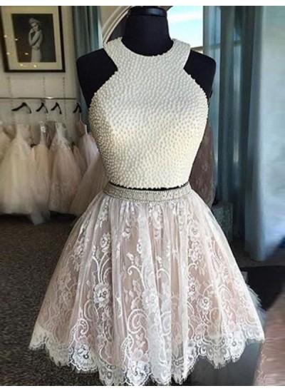 A-Linien-/Princess-Stil Juwel-Ausschnitt Spitze Ärmellos Kurze zweiteilige Abendkleid mit Perlen