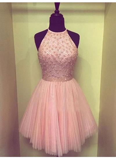 A-Linien-/Princess-Stil Neckholder Chiffon Ärmellos Knielang Kleid mit Spandex