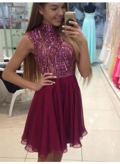 A-Linien-/Princess-Stil Neckholder Chiffon Ärmellos Knielang Kleid mit Perlenstickereien