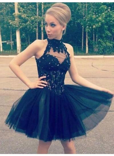 A-Linien-/Princess-Stil Stehkragen Tüll Ärmellos Kurze Abiballkleid mit Perlenstickereien