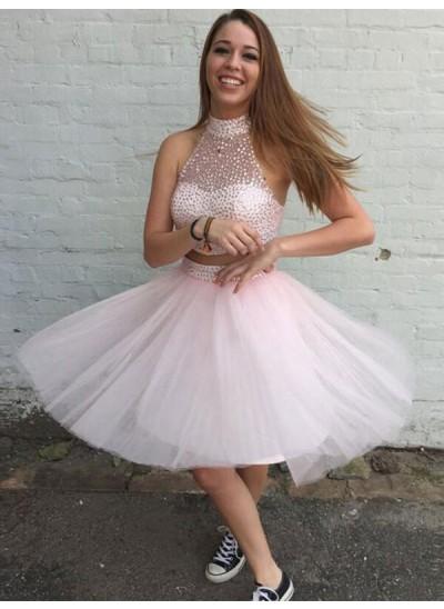 A-Linien-/Princess-Stil Stehkragen Tüll Kurze zweiteilige Cocktailkleid mit Perlenstickereien