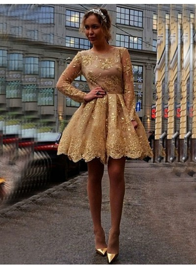 Duchesse-Stil Juwel-Ausschnitt Lange Ärmel Kurze Abend- und Cocktailkleid mit Applikationen