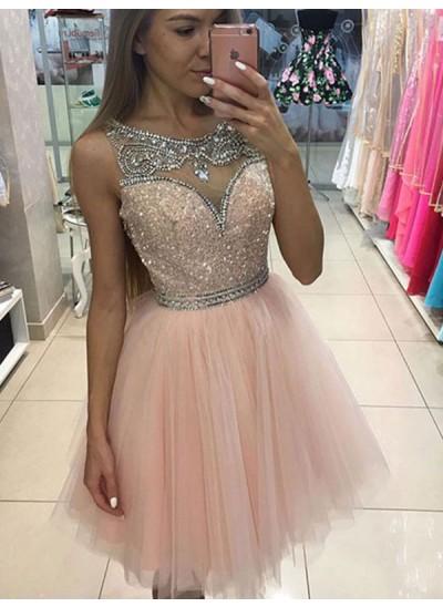 A-Linien-/Princess-Stil U-Ausschnitt Tüll Ärmellos Kurze Abendkleid mit Perlenstickereien Ziermünzen