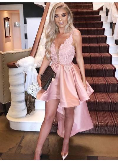 A-Linien-/Princess-Stil Spaghettiträger Satin Ärmellos Asymmetrisch Kleid mit Applikationen