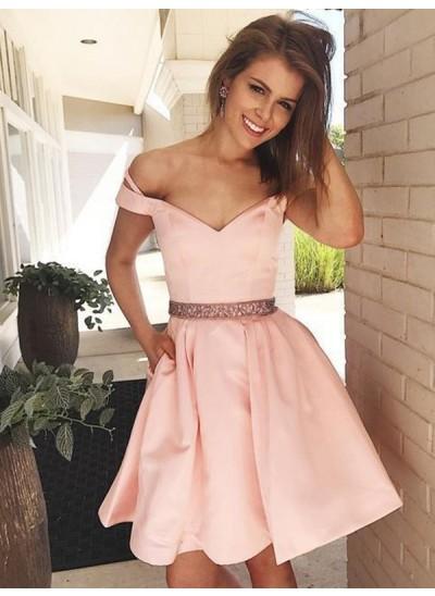A-Linien-/Princess-Stil Schulterfrei Satin Ärmellos Kurze/Mini Kleid mit Perlenstickereien