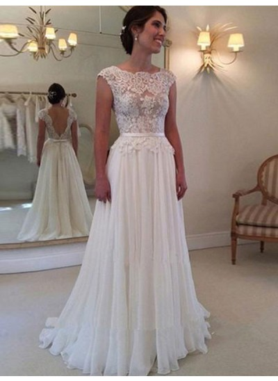 A-Linien-/Princess-Stil U-Ausschnitt Bodenlang Chiffon Ärmellos Brautkleid mit Applikationen